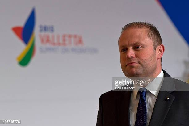 Prime Minister of Malta Joseph Muscat arrives at the first session of the Valletta Summit on migration on November 11 2015 in Valletta Malta The...