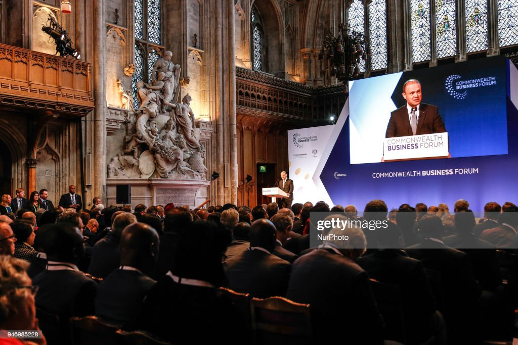 Prime minister of Malta, Joseph Muscat is giving his opening remarks at the Business Forum Opening Session on Delivering a Prosperous Commonwealth For All during the Commonwealth Heads of Government Meeting in London, United Kingdom, April 16, 2018.