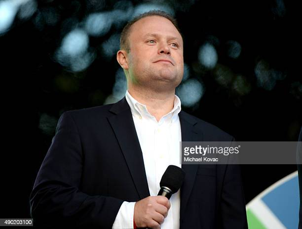 Prime Minister of Malta Joseph Muscat presents onstage at the 2015 Global Citizen Festival to end extreme poverty by 2030 in Central Park on...