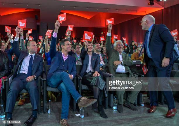 Prime Minister of Malta Joseph Muscat Prime Minister of Spain Pedro Sanchez President of PES Sergei Stanishev and Portuguese Prime Minister Antonio...