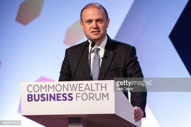 Prime Minister of Malta Joseph Muscat speaks at the Business Forum Opening Session on the first day of the Commonwealth Heads of Government Meeting...