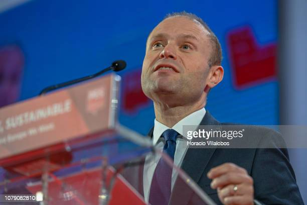 Prime Minister of Malta Joseph Muscat speaks at the Party of European Socialists PES Congress 2018 on December 08 2018 in Lisbon Portugal The XI PES...