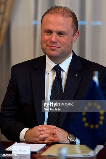 Prime Minister of Malta Joseph Muscat welcomes delegates ahead of the Valletta Summit at the Auberge de Castille on November 10 2015 in Valletta...