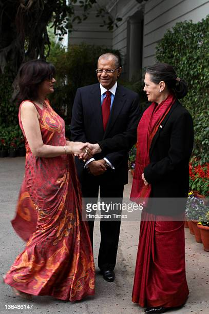 Prime Minister of Mauritius Navinchandra Ramgoolam and his wife Veena Ramgoolam meet UPA Chairperson Sonia Gandhi at her residence on February 7 2012...