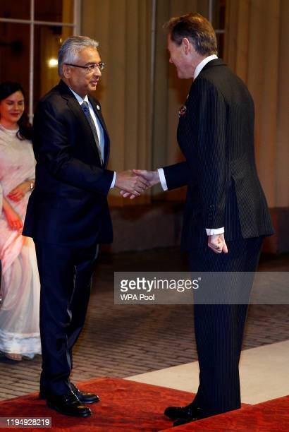 Prime Minister of Mauritius Pravind Jugnauth arrives arrives as Prince William, Duke of Cambridge and Catherine, Duchess of Cambridge host a...