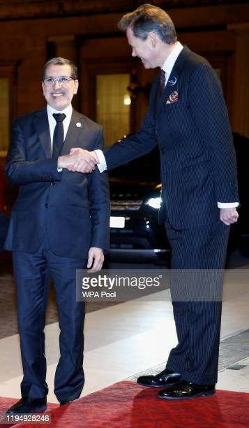 Prime Minister of Morocco Saad Eddine el-Othmani arrives as Prince William, Duke of Cambridge and Catherine, Duchess of Cambridge host a reception to...