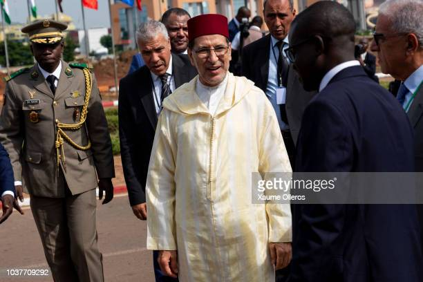 Prime minister of Morocco Saadeddine Othmani arrives to the National Day military parade on September 22 2018 in Bamako Mali