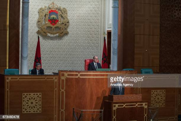 Prime Minister of Morocco Saadeddine Othmani makes a statement regarding a new government programme that will function untill 2021, at the Moroccan...