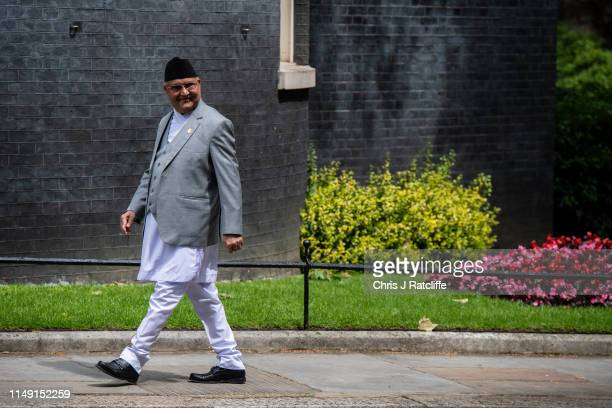 Prime Minister of Nepal, Khadga Prasad Sharma Oli, arrives to greet British Prime Minister Theresa May ahead of bilateral talks at 10 Downing Street...