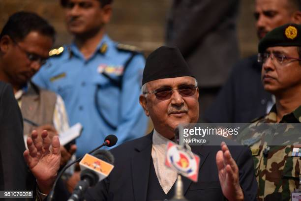 Prime Minister of Nepal KP Sharma Oil giving speech in the premises of Dharahara a damaged monument during third earthquake anniversary in Kathmandu...