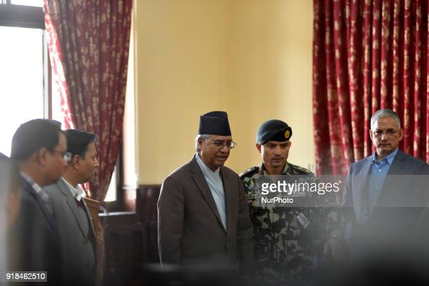 Prime Minister of Nepal Sher Bahadur Deuba arrive to annouce the resign at Kathmandu Nepal on Thursday February 15 2018