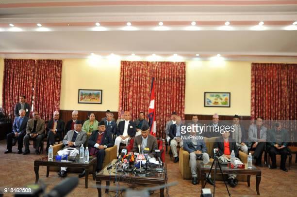 Prime Minister of Nepal Sher Bahadur Deuba resigns after addressing the nation at Kathmandu Nepal on Thursday February 15 2018