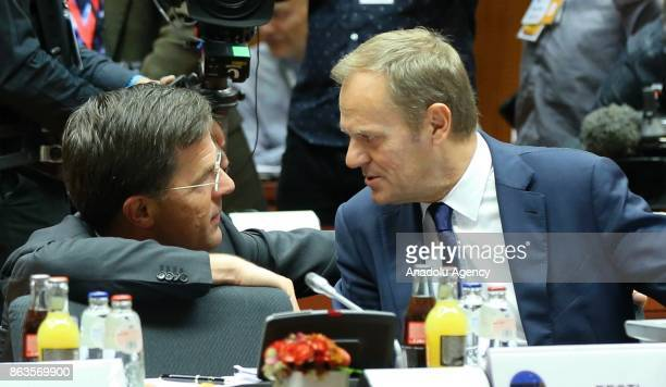 Prime Minister of Netherlands Mark Rutte and President of the European Council Donald Tusk attend the European Council Meeting at the Council of the...