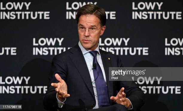 Prime Minister of Netherlands Mark Rutte answers questions following a speech at the Lowy Institute on October 10 2019 in Sydney Australia...