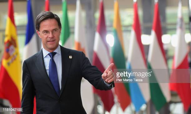 Prime Minister of Netherlands Mark Rutte arrives at the Heads of State at the EU Summit on June 20, 2019 in Brussels, Belgium.