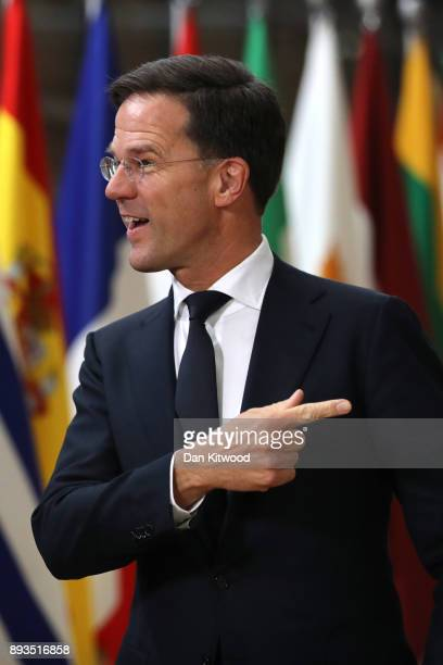 Prime Minister of Netherlands Mark Rutte arrives for the European Union leaders summit at the European Council on December 14 2017 in Brussels...