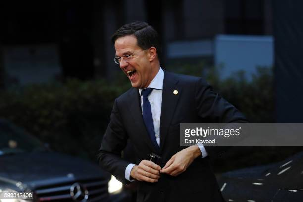 Prime Minister of Netherlands Mark Rutte arrives for the second day of the European Union leaders summit at the European Council on December 15 2017...