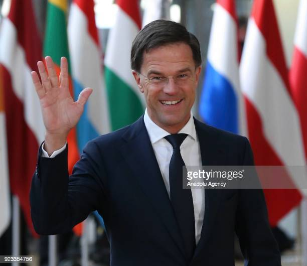 Prime Minister of Netherlands Mark Rutte attends the EU members' informal meeting of the 27 heads of state or government at European Council...