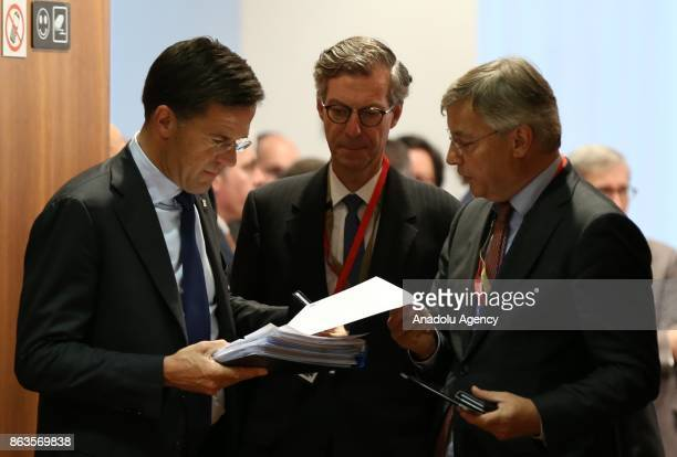 Prime Minister of Netherlands Mark Rutte attends the European Council Meeting at the Council of the European Union building on October 20 2017 in...