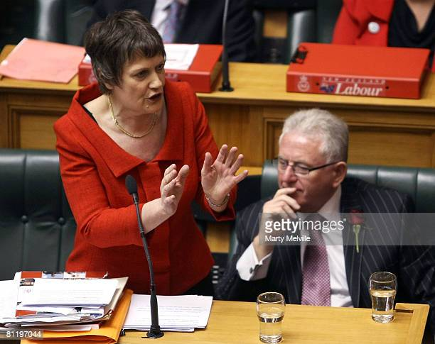 Prime Minister of New Zealand Helen Clark discusses the Budget as Finance Minister Dr Michael Cullen listens at Parliament House May 22 2008 in...