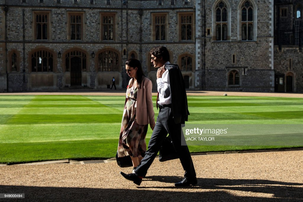 Prime Minister of New Zealand Jacinda Ardern (L) and Canadian Prime Minister Justin Trudeau arrive at Windsor Castle for a Commonwealth Heads of Government meeting (CHOGM) retreat in Windsor, west of London on April 20, 2018.