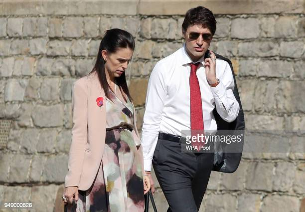Prime Minister of New Zealand Jacinda Ardern and Prime Minister of Canada Justin Trudeau arrive at Windsor Castle for a retreat on the final day of...