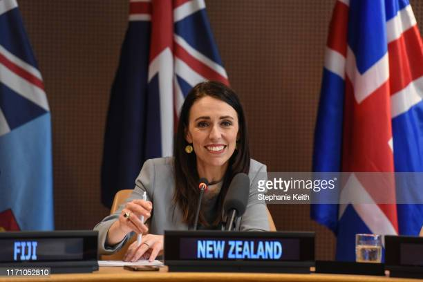 Prime Minister of New Zealand Jacinda Ardern announces the launch of a new initiative on climate change trade and sustainability during the United...