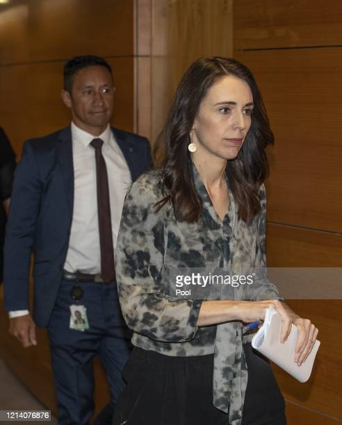 Prime Minister of New Zealand Jacinda Ardern arrives at a COVID19 press conference at the Beehive Theatrette Parliament on May 20 2020 in Wellington...