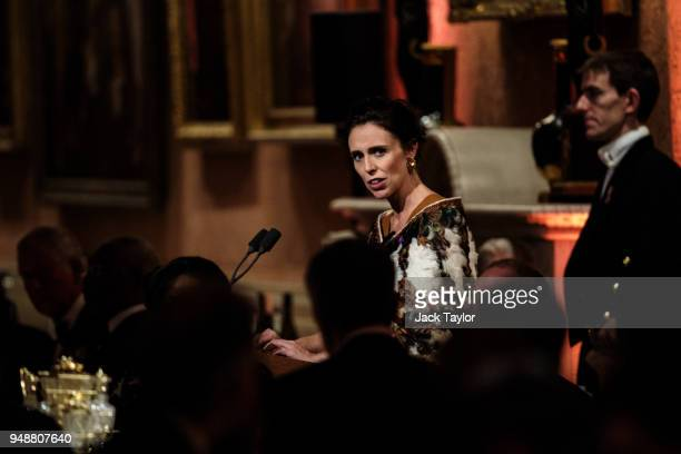 Prime Minister of New Zealand Jacinda Ardern makes a speech at the Queen's Dinner at Buckingham Palace in the week of the 'Commonwealth Heads of...