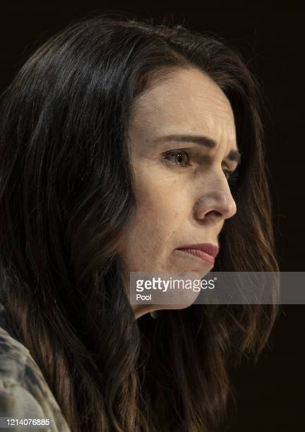 Prime Minister of New Zealand Jacinda Ardern speaks at a COVID19 press conference at the Beehive Theatrette Parliament on May 20 2020 in Wellington...