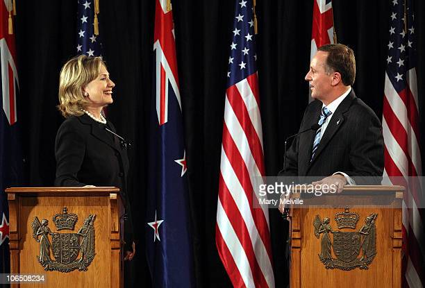 Prime Minister of New Zealand John Key and US Secretary of State Hillary Clinton speak to the media during a joint press conference at Parliament on...