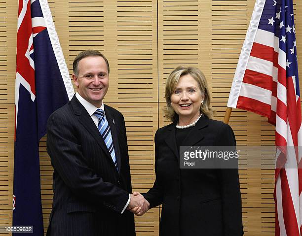 Prime Minister of New Zealand John Key and US Secretary of State Hillary Clinton talk before their bilateral meeting at Parliament on November 4 2010...