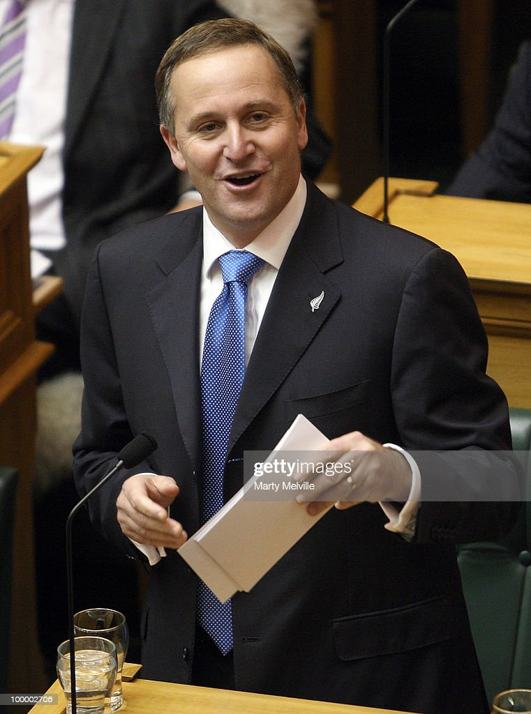 Prime Minister of New Zealand John Key responds to the reading of the Budget in Parliament House on May 20, 2010 in Wellington, New Zealand. English announced tax cuts across the board, with all income tax rates to be cut from October this year and company tax rates from April next year.