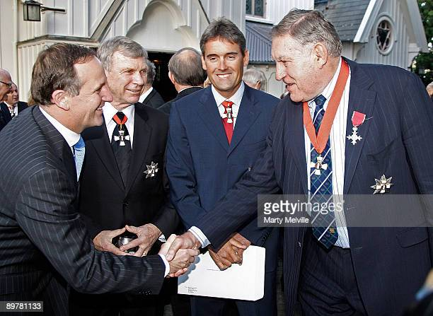 Prime Minister of New Zealand joins Sir Peter Snell Sir Russell Coutts and Sir Colin Meads after an investiture ceremony for the 72 New Zealand dames...