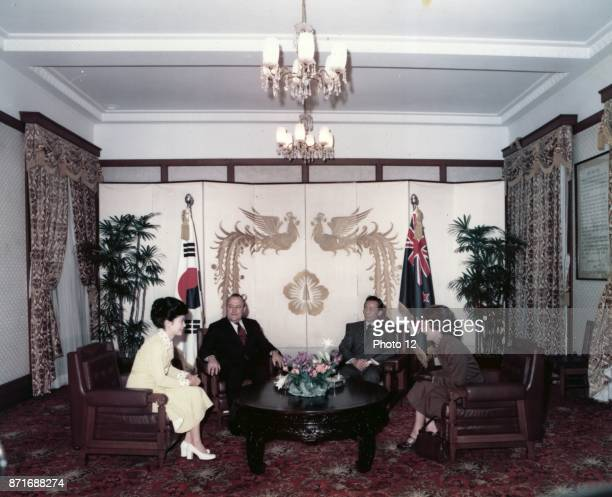 1978 Prime Minister of New Zealand meets President Park Chung hee of South Korea and his daughter Park Geunhye who in 2013 became the eleventh south...
