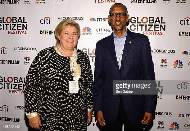 Prime minister of Norway Erna Solberg and President of Rwanda Paul Kagame attend the 2014 Global Citizen Festival to end extreme poverty by 2030 at...