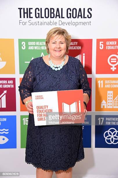 Prime Minister of Norway Erna Solberg attends 2016 Global Goals Awards Dinner at Gustavino's on September 20 2016 in New York City