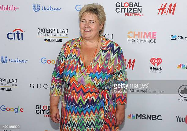 Prime Minister of Norway Erna Solberg attends the 2015 Global Citizen Festival to end extreme poverty by 2030 in Central Park on September 26 2015 in...