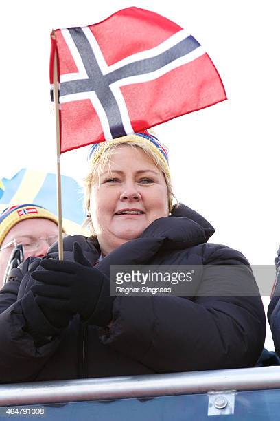Prime Minister of Norway Erna Solberg attends the FIS Nordic World Ski Championships on February 28 2015 in Falun Sweden