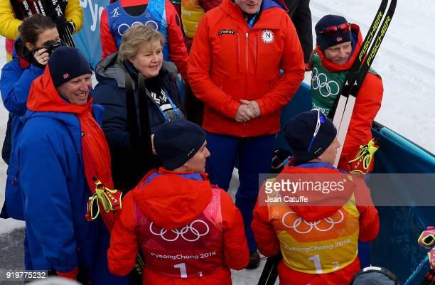 Prime Minister of Norway Erna Solberg congratulates gold medalists of Team Norway Didrik Toenseth Martin Johnsrud Sundby Simen Hegstad Krueger...