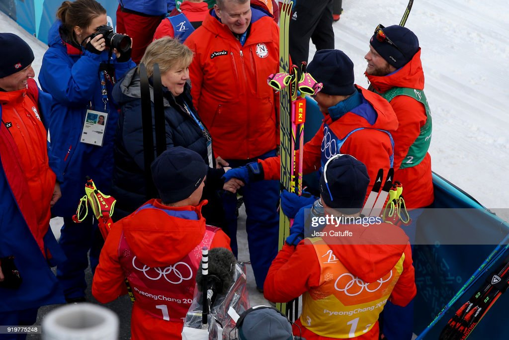 Prime Minister of Norway Erna Solberg congratulates gold medalists of Team Norway Didrik Toenseth, Martin Johnsrud Sundby, Simen Hegstad Krueger, Johannes Hoesflot Klaebo in Cross-Country Skiing Men's 4 x 10km Relay on day nine of the PyeongChang 2018 Winter Olympic Games at Alpensia Cross-Country Centre on February 18, 2018 in Pyeongchang, South Korea.