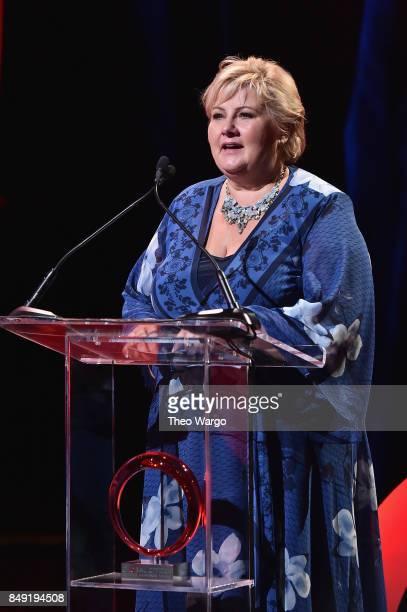 Prime Minister of Norway Erna Solberg during Global Citizen Live at NYU Skirball Center on September 18 2017 in New York City
