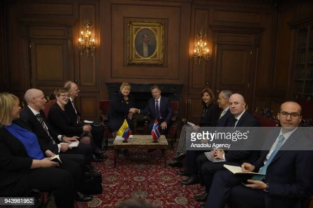 Prime Minister of Norway Erna Solberg meets with Colombian President Juan Manuel Santos during her visit at Casa de Narino in Bogota Colombia on...