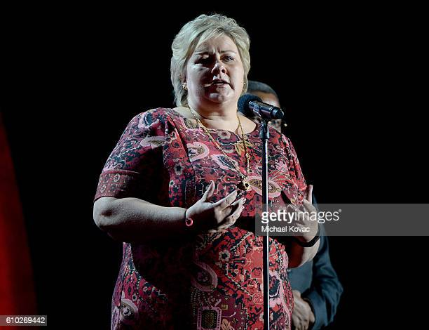 Prime Minister of Norway Erna Solberg presents onstage at the 2016 Global Citizen Festival ro End Extreme Poverty by 2030 at Central Park on...