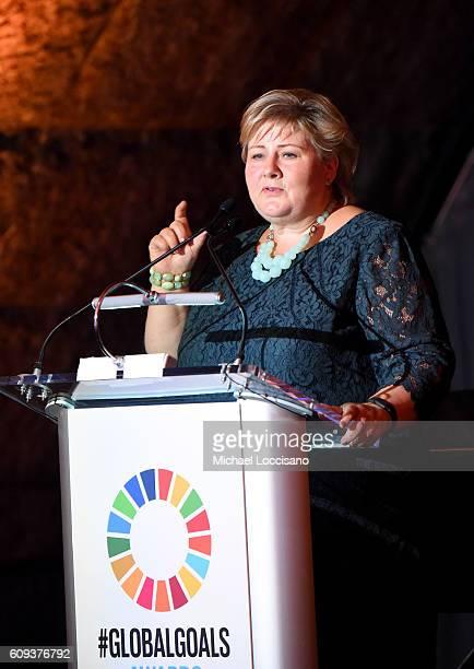 Prime Minister of Norway Erna Solberg speaks onstage during 2016 Global Goals Awards Dinner at Gustavino's on September 20 2016 in New York City