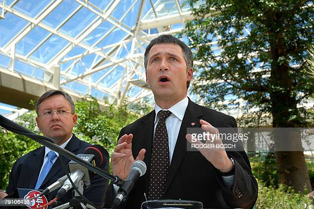 Prime minister of Norway Jens Stoltenberg addresses the media during a a press briefing with South African Minister of Environmental Afairs Marthinus...