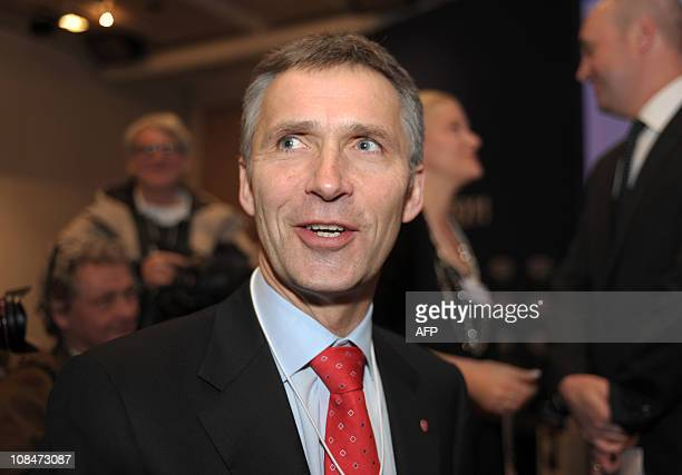 "Prime Minister of Norway Jens Stoltenberg looks on upon arrival to attend the session ""Confronting new realities: the Nordic Experience"" at the World..."