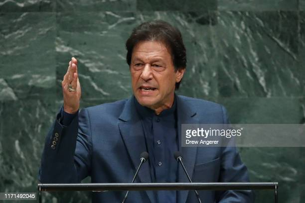 Prime Minister of Pakistan Imran Khan addresses the United Nations General Assembly at UN headquarters on September 27, 2019 in New York City. World...
