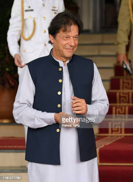 Prime Minister of Pakistan Imran Khan attends a meeting with Catherine, Duchess of Cambridge and Prince William, Duke of Cambridge at the Prime...