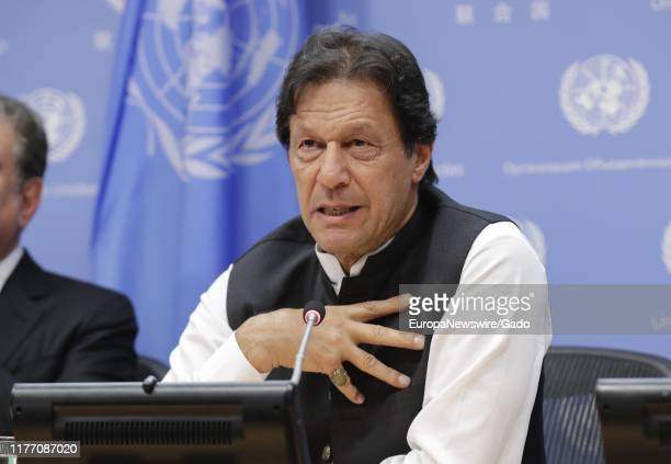 Prime Minister of Pakistan Imran Khan during the 74th Session of the General Assembly at the UN Headquarters in New York, City, New York, September...